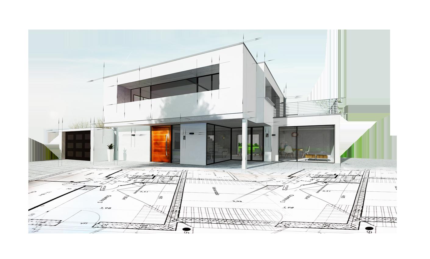 Modern building on blueprint
